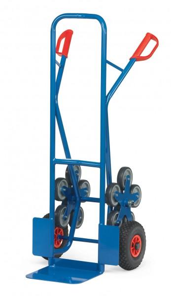 Fetra TK1327 Treppenkarren Stahl 200 kg, mit zwei fünfarmigen Rad-Sternen, Luftreifen