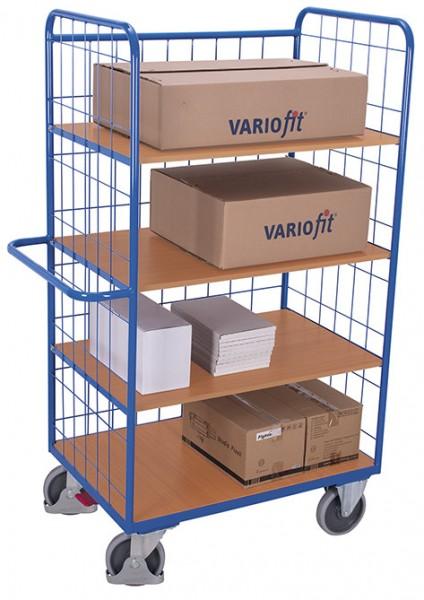 VARIOfit Hoher Etagenwagen mit drei klappbaren Etagenböden, EasySTOP