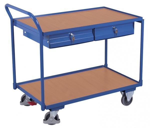 VARIOfit Tischwagen mit zwei Ladeflächen und zwei Schubladen, Baukasten-System, EasySTOP