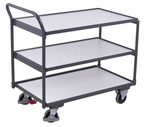 VARIOfit ESD Tischwagen mit drei Ladeflächen, Baukasten-System, EasySTOP