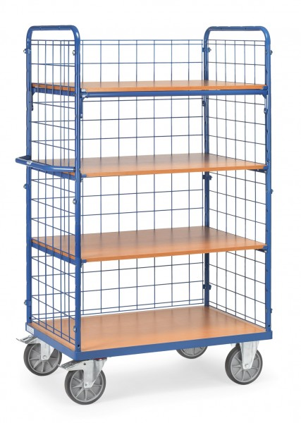 Fetra Hoher Etagenwagen mit vier Holzböden, 600 kg
