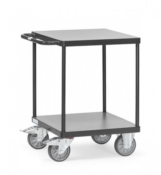 """Fetra 2496/7016 Schwerer Tischwagen """"GREY EDITION"""" mit quadratischer Ladefläche, zwei Holzböden"""