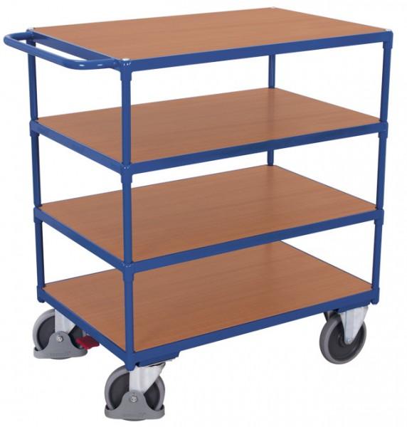 VARIOfit Schwerer Tischwagen mit vier Ladeflächen, Baukasten-System, EasySTOP