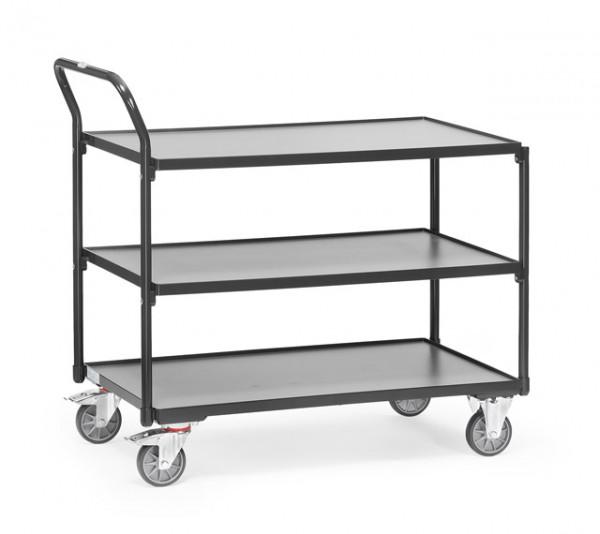 """Fetra Leichter Tischwagen """"GREY EDITION"""" 300 kg, mit drei Böden aus Holz, Griff hochstehend"""