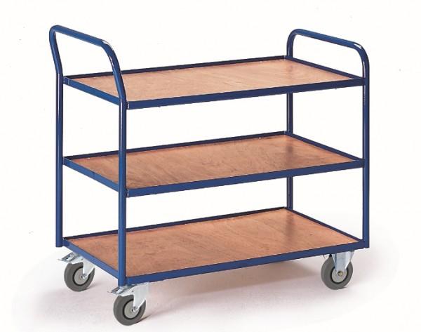 ROLLCART Tischwagen mit drei Etagen, 300 kg Tragkraft, hoher Schiebegriff