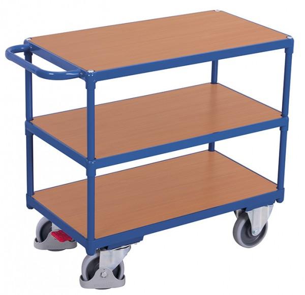 VARIOfit Schwerer Tischwagen mit drei Ladeflächen, Baukasten-System, EasySTOP