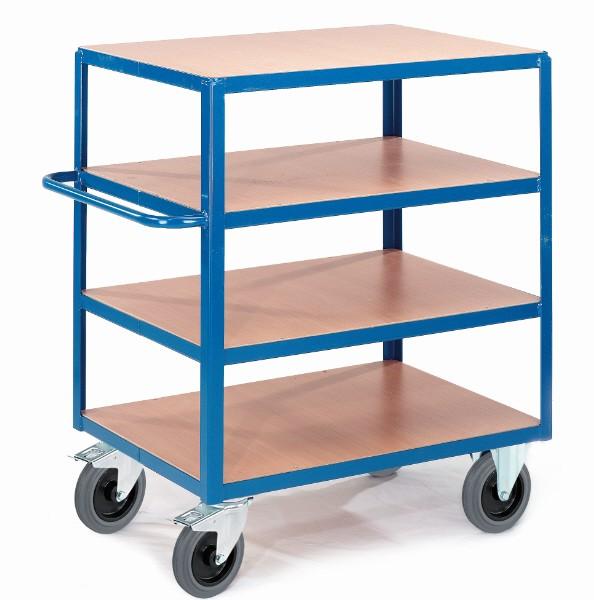 ROLLCART Tischwagen vier Ladeflächen, 600 kg Tragkraft