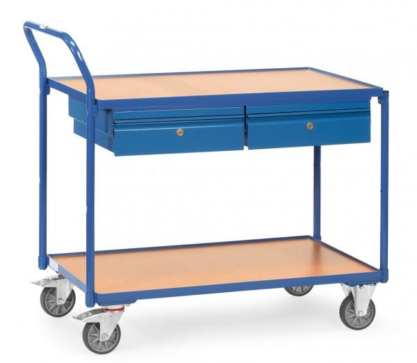 Fetra 2622 Leichter Tischwagen, zwei Stahlblechschubladen und Holz-Plattform, 300 kg