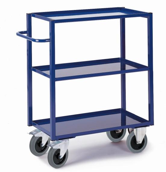 ROLLCART Hoher Tischwagen mit Blechwannen, 400 kg Tragkraft