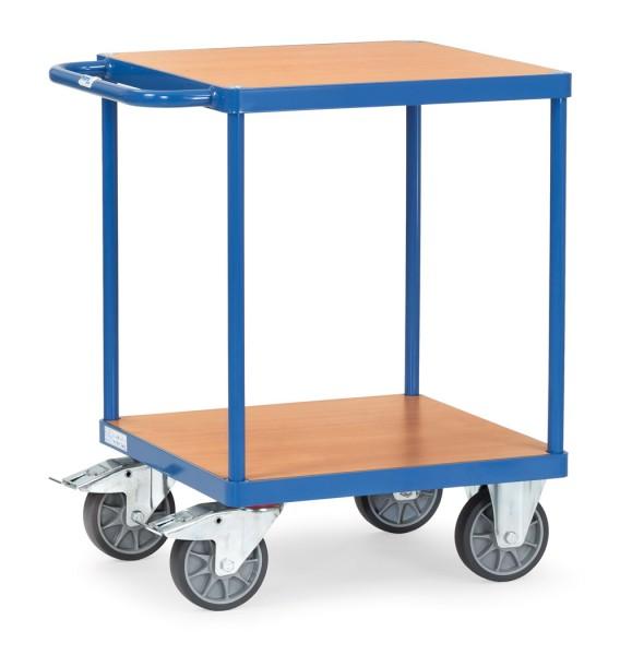 Fetra 2496 Schwerer Tischwagen, zwei quadratische Holz-Plattformen, 500 kg