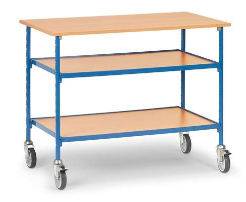Fetra 5862 Rolltisch mit drei Böden aus Holz, 150 kg