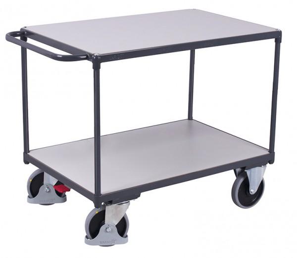 VARIOfit Schwerer ESD Tischwagen mit zwei Ladeflächen, Baukasten-System, EasySTOP