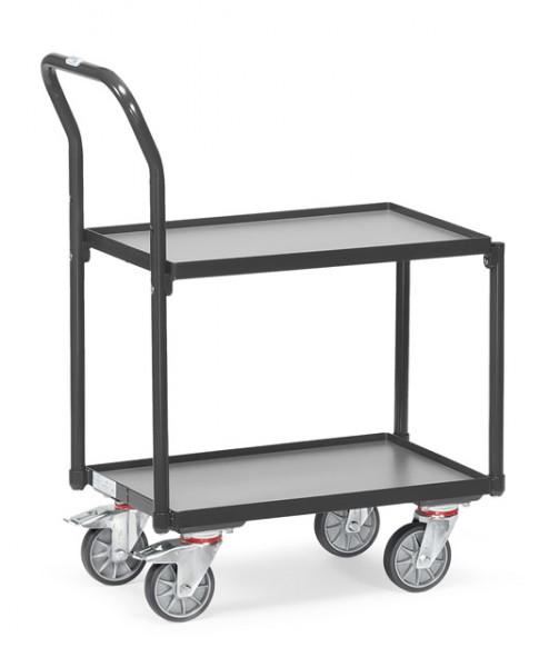 "Fetra 135400/7016 Etagen-Roller ""GREY EDITION"" 250 kg, zwei Holzböden, Rand, Rohrschiebebügel"