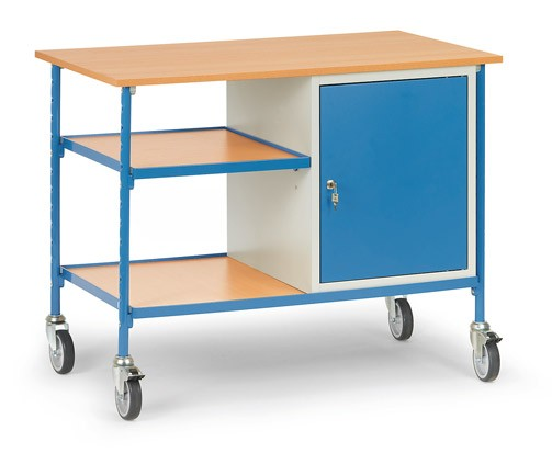 Fetra 5864 Rolltisch mit zwei Böden aus Holz und Stahlschrank, 150 kg