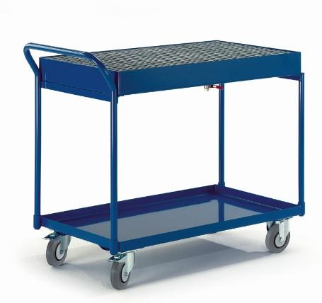 ROLLCART 06-7157 Werkstattwagen mit zwei Blechwannen und einem Gitterrost, 300 kg Tragkraft