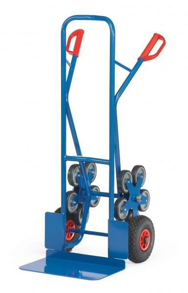 Fetra TK1328 Treppenkarren Stahl 200 kg, mit zwei fünfarmigen Rad-Sternen, Luft, breite Schaufel