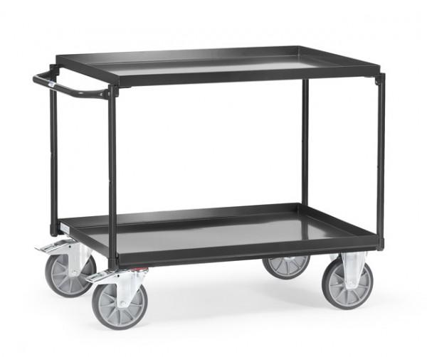 """Fetra Tischwagen mit Wannen """"GREY EDITION"""" 400 kg, mit zwei Böden aus Blechwannen, Griff waagerecht"""
