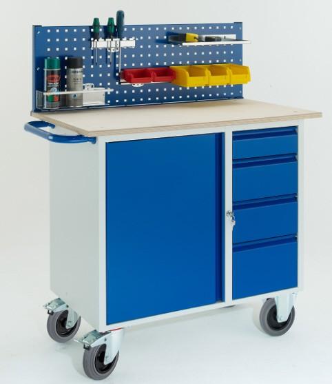 ROLLCART 07-4361L1 Werkstattwagen mit vier Schubladen, Stahlschrank, eine Lochplatte