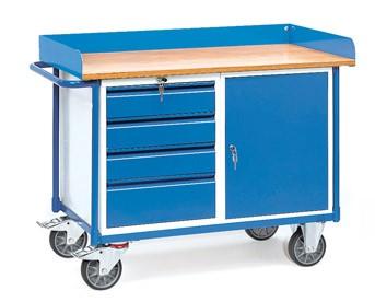 Fetra 2438 Werkstattwagen mit vier Schubladen und Schrank, 400 kg