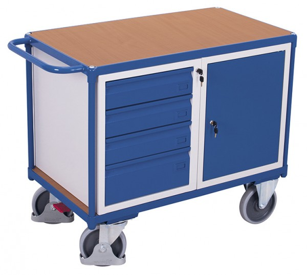 VARIOfit sw-600.698 Werkstattwagen mit Ladefläche, Schrank und Schubladen, EasySTOP
