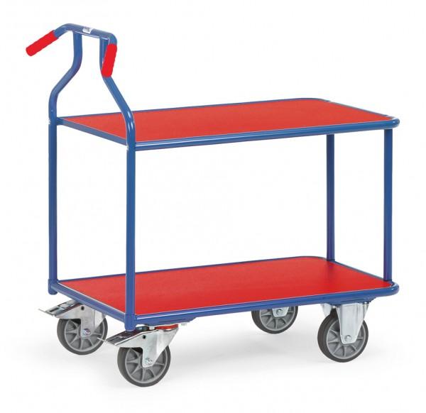 Fetra 3601 blau/rot Optiliner-Tischwagen mit roten Holzplattformen 400 kg