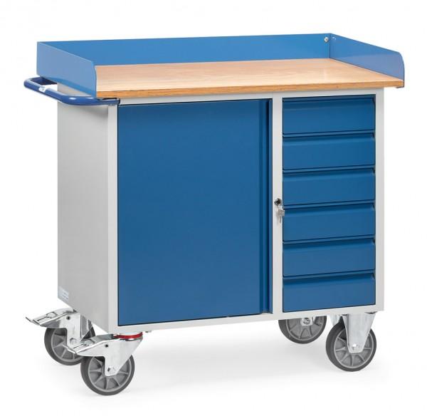 Fetra 12450 Stahlblech-Werkstattwagen, sechs Schubladen und Schrank, Abrollrand, 400 kg