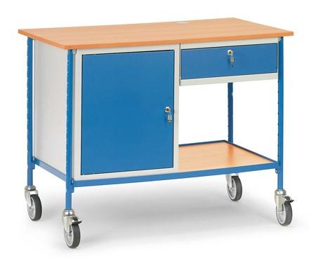 Fetra 5866 Rolltisch mit einem Stahlschrank und ausziehbarer Schublade, 150 kg