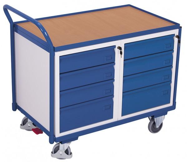 VARIOfit sw-600.608 Werkstattwagen mit einer Ladefläche und Schubladen, EasySTOP