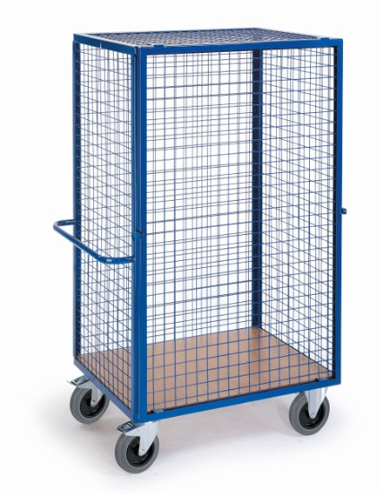ROLLCART Gitter-Schrankwagen mit einhängbarer Vorderwand