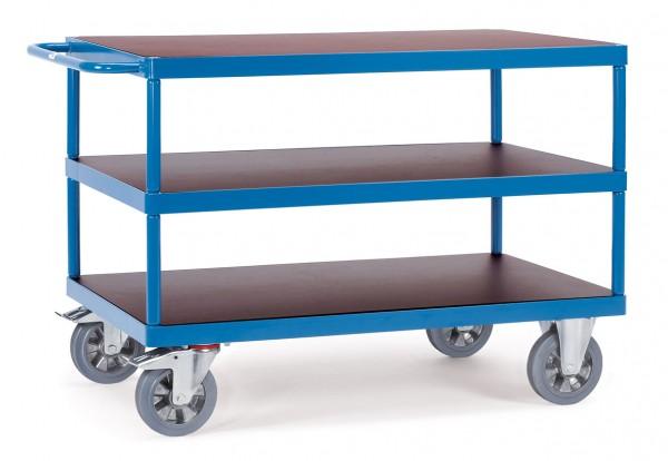 Fetra schwerer Tischwagen mit drei Böden aus Holz, 1200 kg