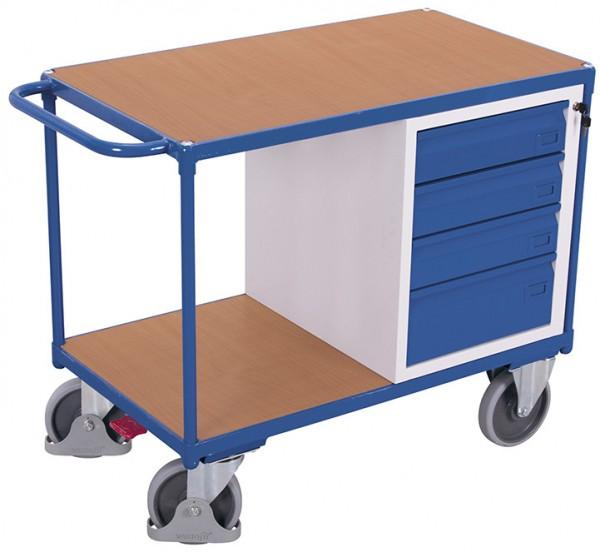 VARIOfit sw-600.602 Werkstattwagen mit zwei Ladeflächen, Schubladen, EasySTOP