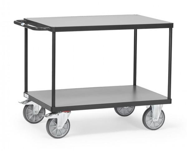 """Fetra Schwere Tischwagen """"GREY EDITION"""" bis 600 kg, mit zwei Böden aus Holz"""