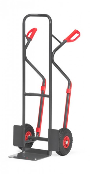 "Fetra B1330L/7016 Stahlrohrkarre ""GREY EDITION"" 300 kg, Kunststoff-Gleitkufen, Luftbereifung"