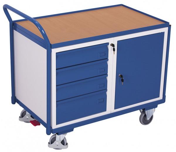 VARIOfit sw-600.606 Werkstattwagen mit Ladefläche, Schrank und Schubladen, EasySTOP