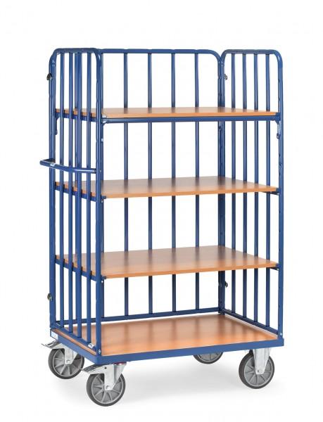 Fetra Hoher Etagenwagen mit vier Böden aus Holz und Längswand, 600 kg
