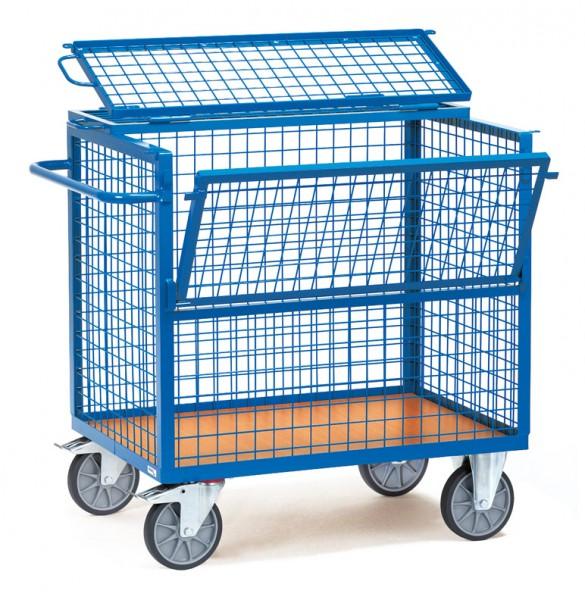 Fetra Drahtkastenwagen mit Drahtgitter und Deckel, 600 kg