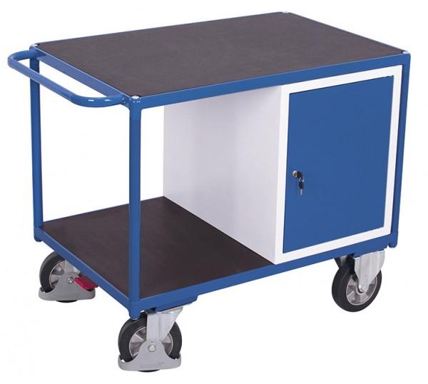 VARIOfit Schwerlast Werkstattwagen mit zwei Ladeflächen und Schrank, EasySTOP