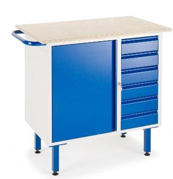 ROLLCART 07-4375 Kleine Werkbank, sechs Schubladen, ein Schrank