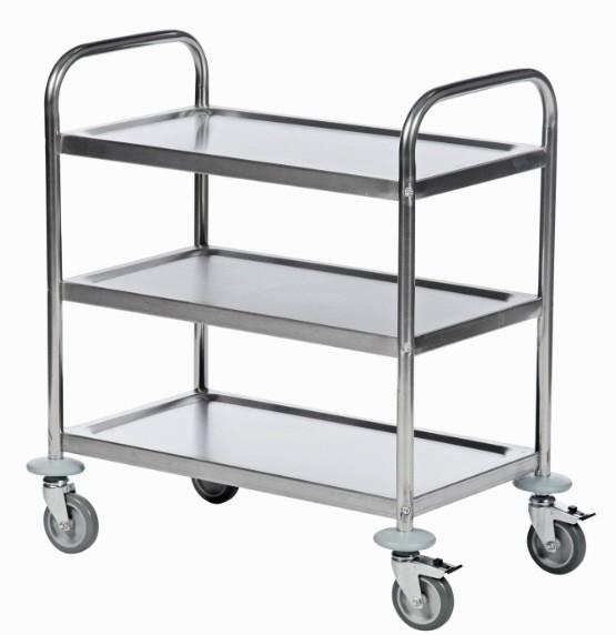 ROLLCART Edelstahl-Tischwagen drei Etagen, 100 kg Tragkraft