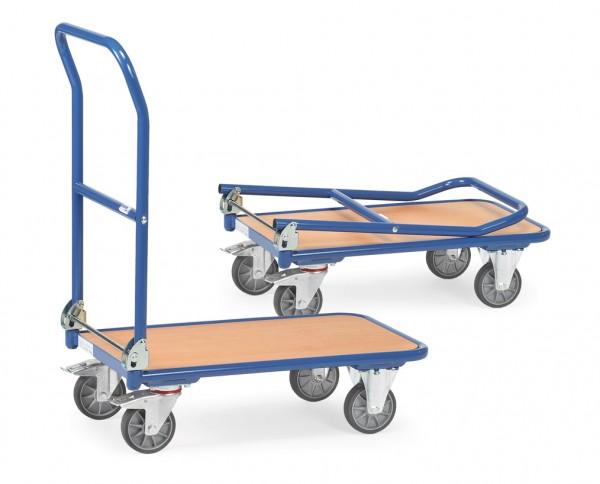 Fetra Klappwagen mit Holzplattform und klappbarem Schiebebügel