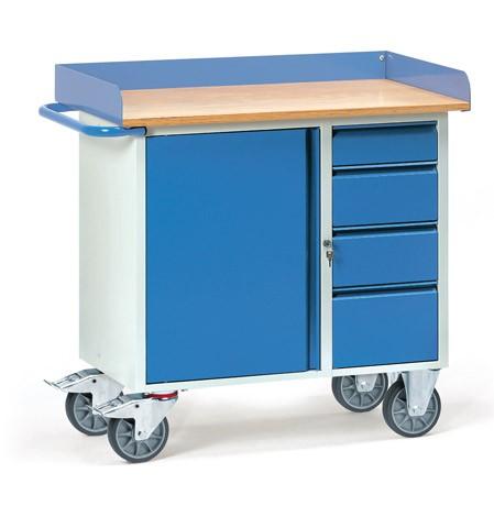 Fetra 12452 Stahlblech-Werkstattwagen, vier Schubladen und Schrank, Abrollrand, 400 kg