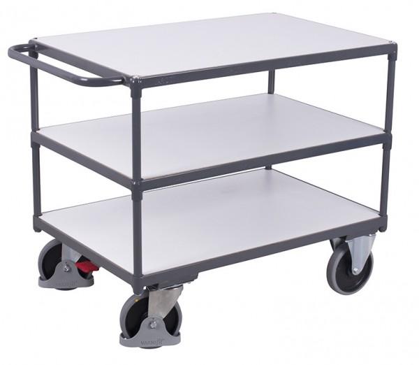 VARIOfit Schwerer ESD Tischwagen mit drei Ladeflächen, Baukasten-System, EasySTOP