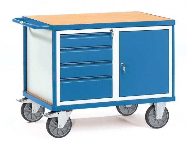 Fetra 2476 schwerer Werkstattwagen mit Schrank und Schubladen, 600 kg