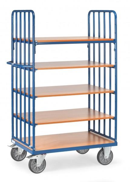 Fetra Hoher Etagenwagen mit fünf Böden aus Holz, 600 kg