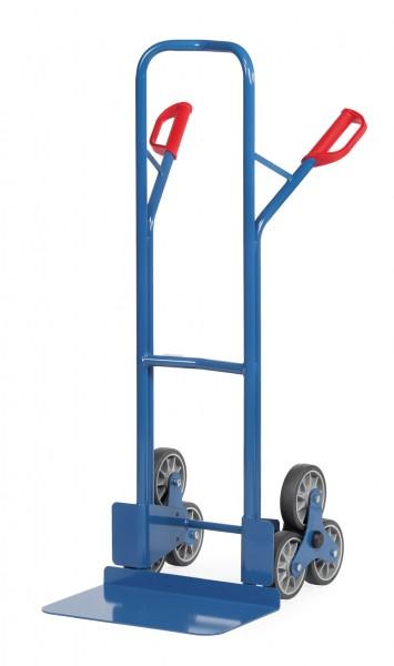 Fetra TK1326 Treppenkarren Stahl 200 kg, mit zwei dreiarmigen Rad-Sternen TPE, breite Schaufel
