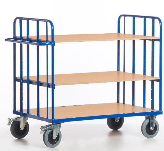 ROLLCART Etagenwagen drei Böden, zwei Gitterwände