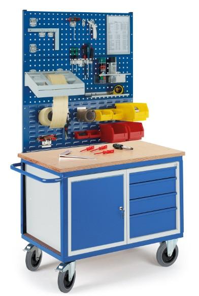 ROLLCART 07-4307L2S1 Werkstattwagen, Stahl- und Schubladenschrank, Lochplatten und Schlitzplatte