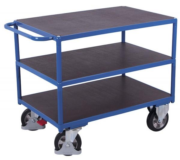 VARIOfit Schwerlast Tischwagen mit drei Ladeflächen, Baukasten-System, EasySTOP