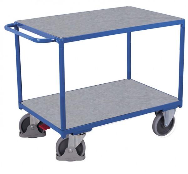 VARIOfit Schwere Tischwagen mit zwei Zinkblechladeflächen, Baukasten-System, EasySTOP