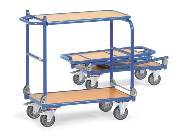 Fetra Klappwagen mit zwei Holzplattformen, klappbar, 200 kg
